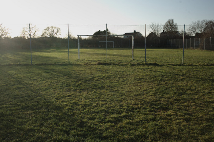 Football pitch, fenced area of grass