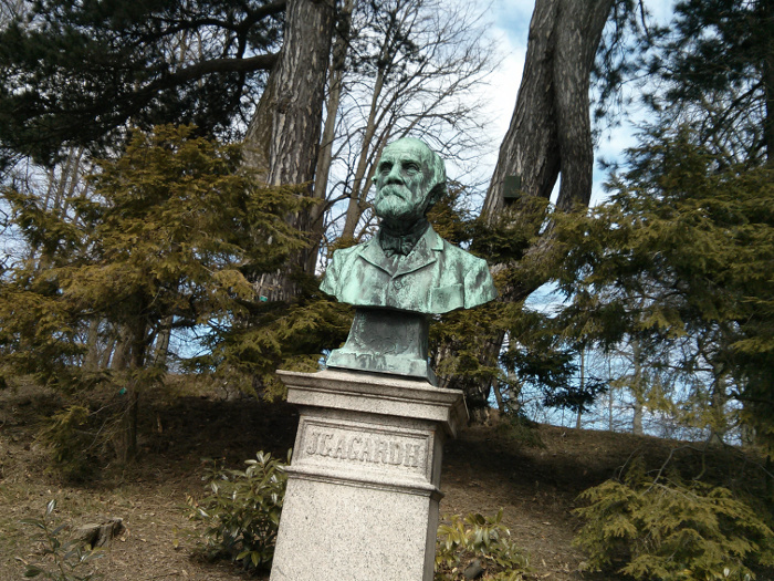 "Bust of a man, with trees in the background. Text on the foundation says ""J.G. AGARDH""."