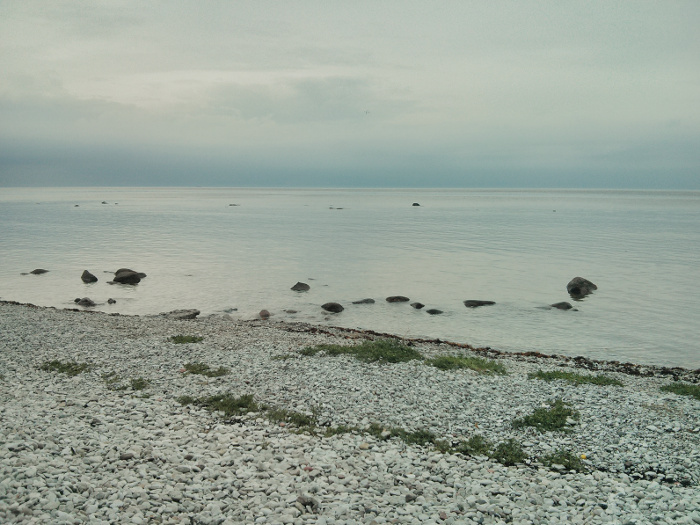 View from seashore, cloudy