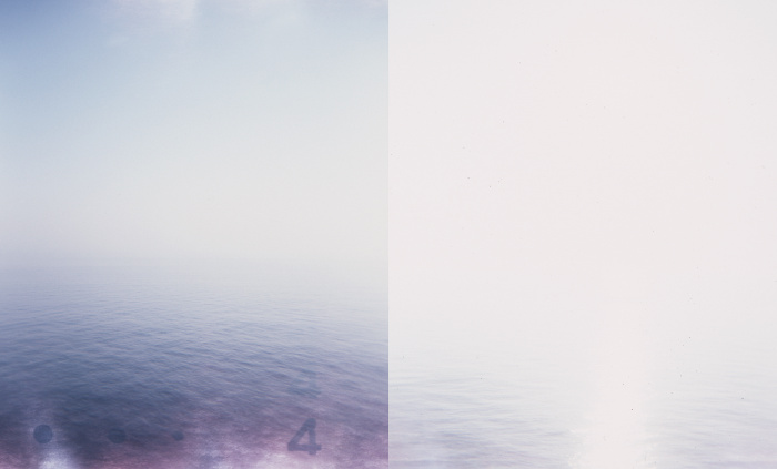 Diptych of the sea and the sky, including film artifacts and light leaks in the top and bottom of the photos. The second image is markedly overexposed.