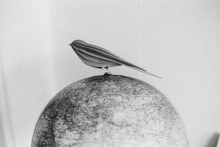 Wooden bird on top of globe.